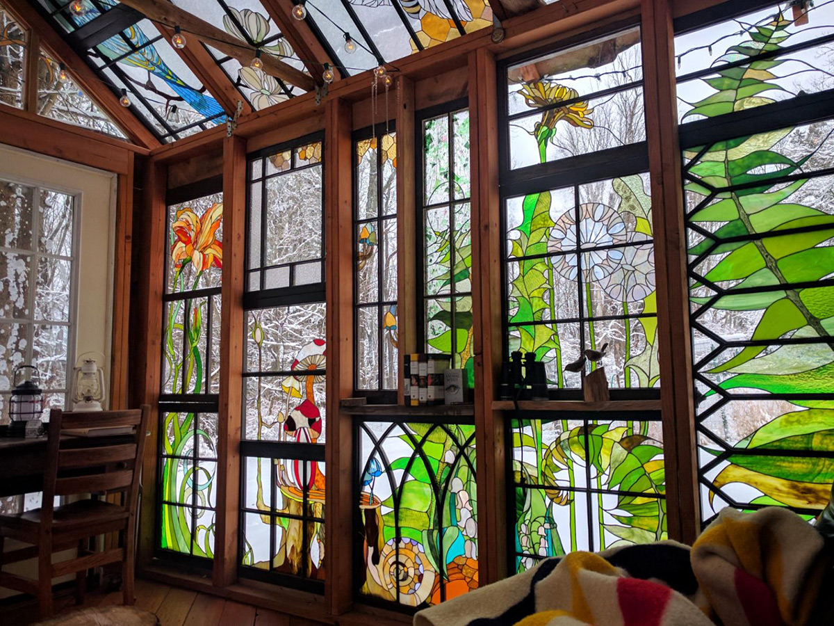 Stained Glass Windows For Homes.A Stained Glass Cabin Hidden In The Woods By Neile Cooper