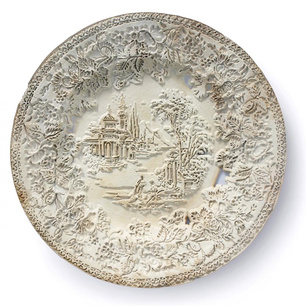 Repurposed Antique Dishware Sandblasted Into Bas-Relief Sculptures by Caroline Slotte Artes & contextos tracing 1