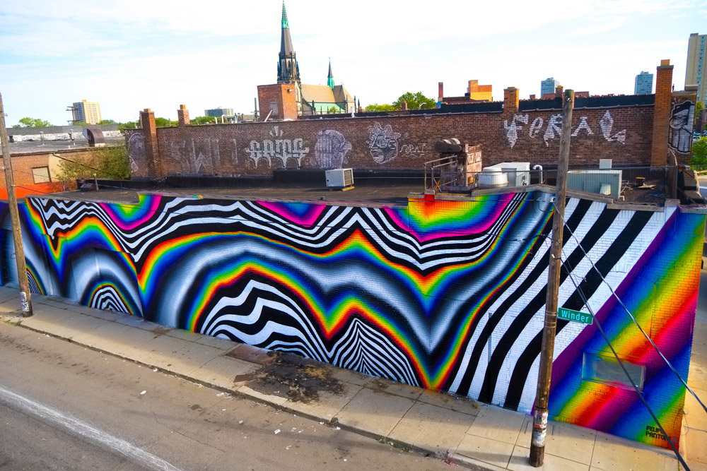 Black and White Patterns Mixed With Chrome Color Spectrums in Murals by Felipe Pantone