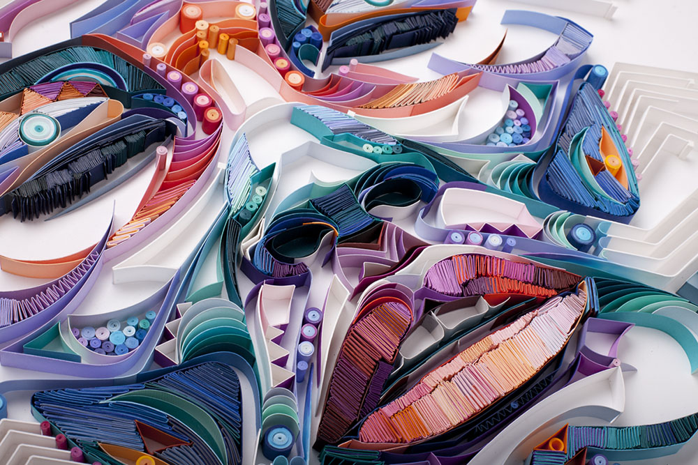 new colorful paper portraits comprised of densely quilled