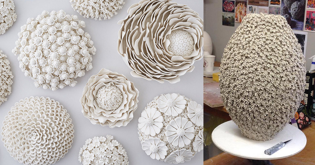 Ornate Ceramic Vessels Encased In Porcelain Flowers By