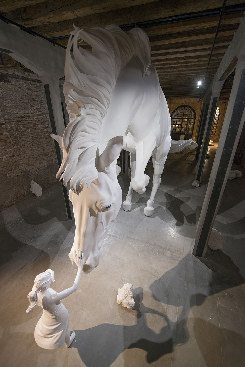 A Girl Encounters A Giant White Horse Frozen In Mid Air