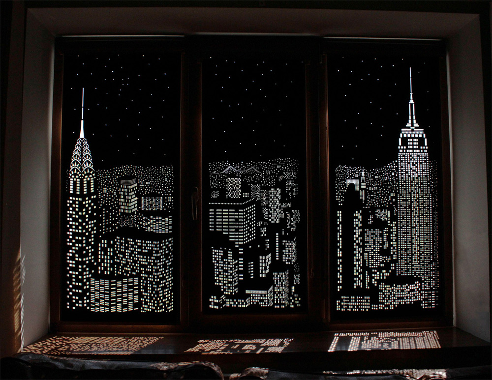 Buildings And Stars Cut Into Blackout Curtains Turn Your
