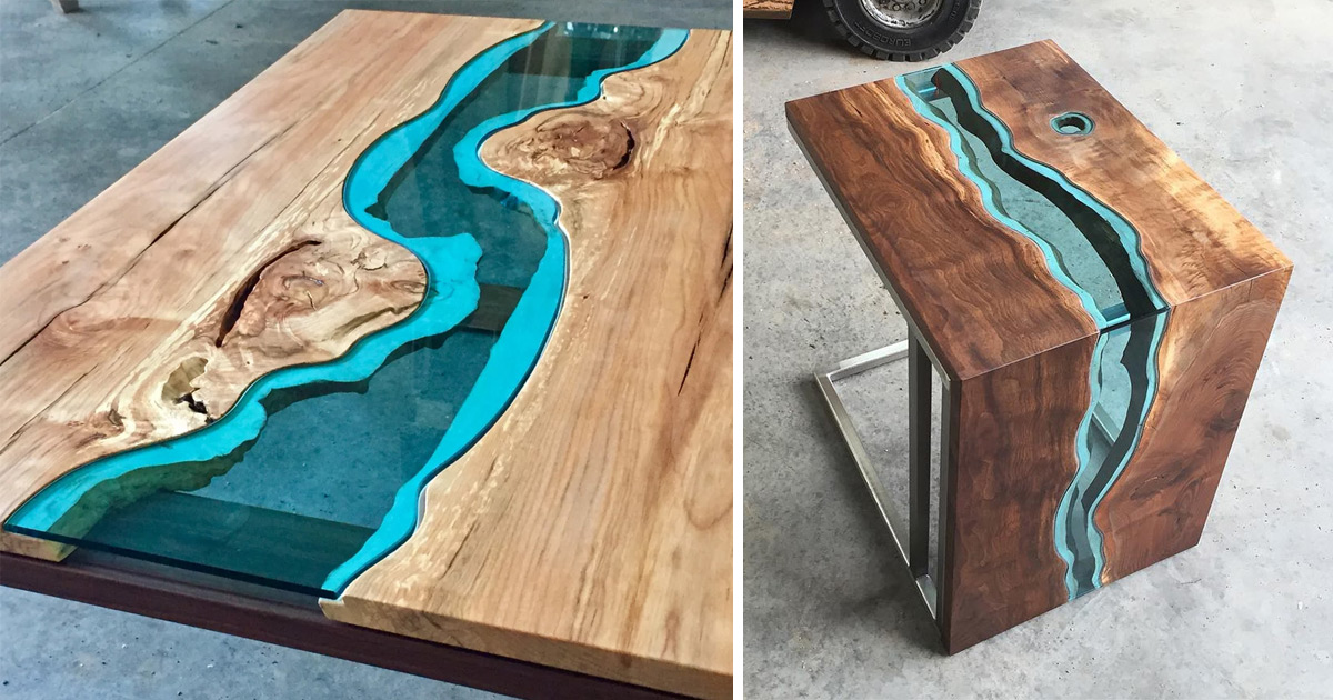 wood tables and wall art embedded with glass rivers and lakes by