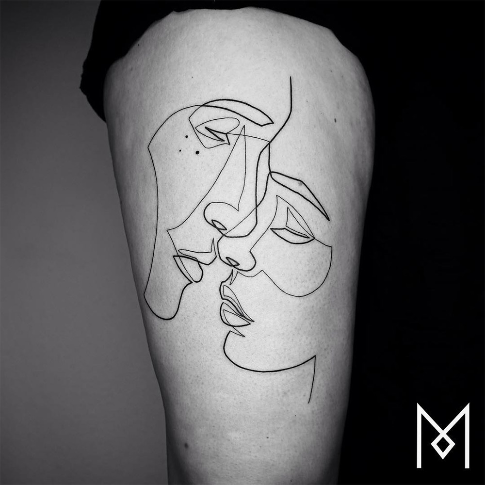 Line Drawing Tattoo Artists : New minimalistic single line tattoos by mo ganji colossal