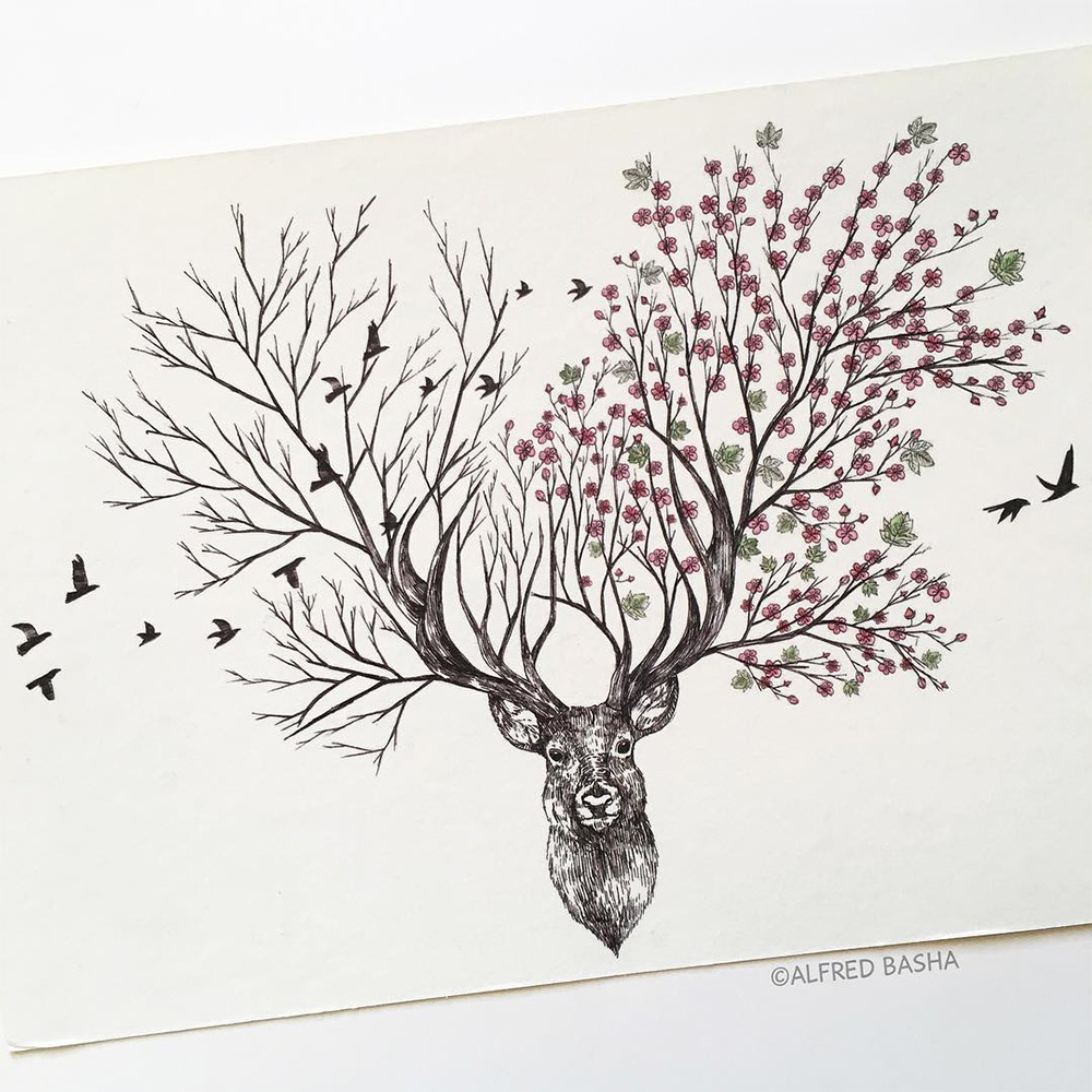 New Pen & Ink Depictions of Trees Sprouting into Animals ...