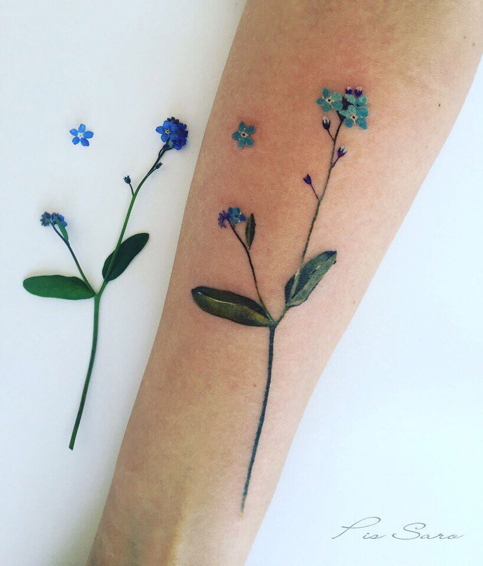 Delicate botanical tattoos by pis saro colossal for Single flower tattoo