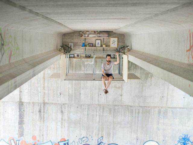 A Secret Work Studio Suspended Below a Highway Overpass by Fernando Abellanas