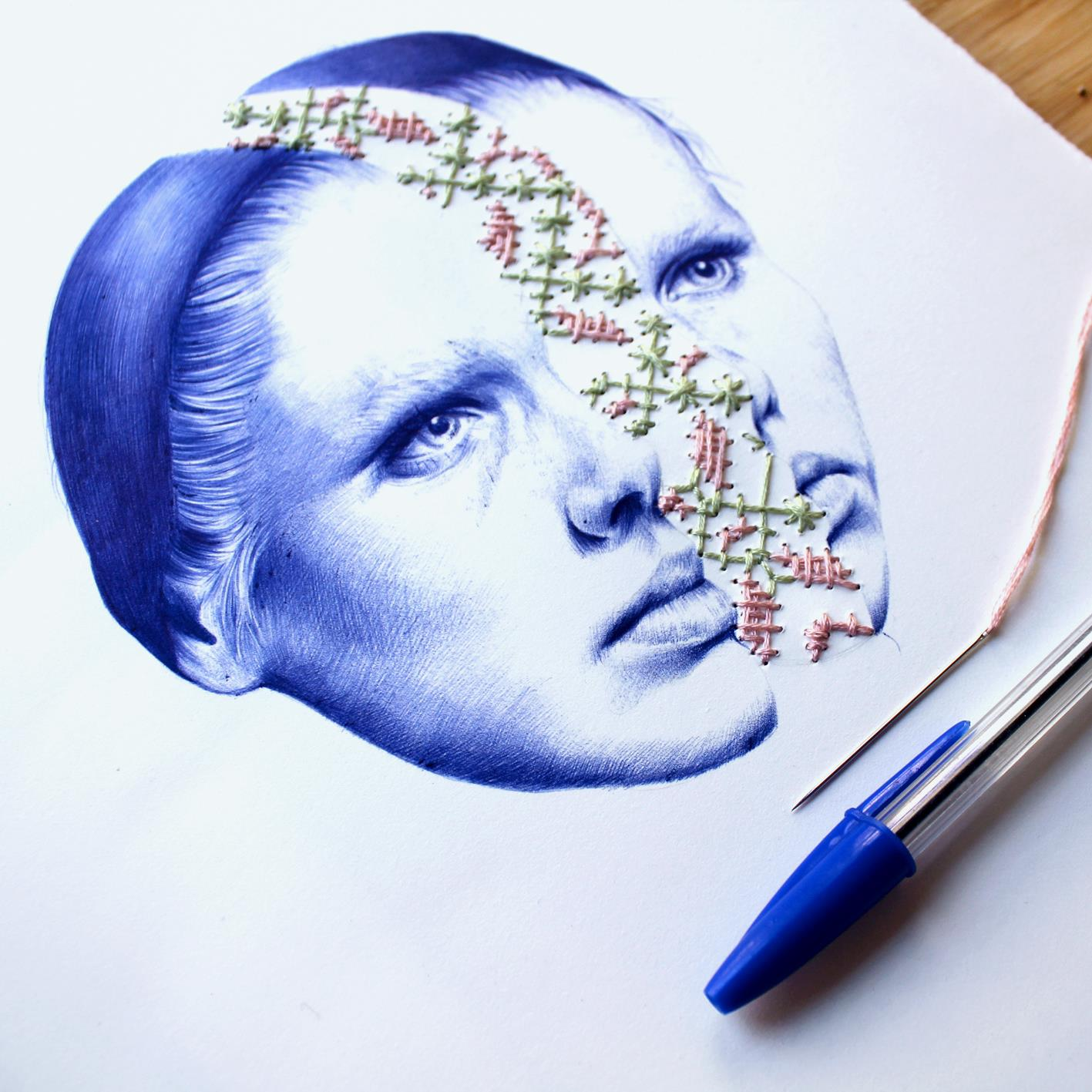 Surreal Drawings Created From Ballpoint Pen and Embroidery