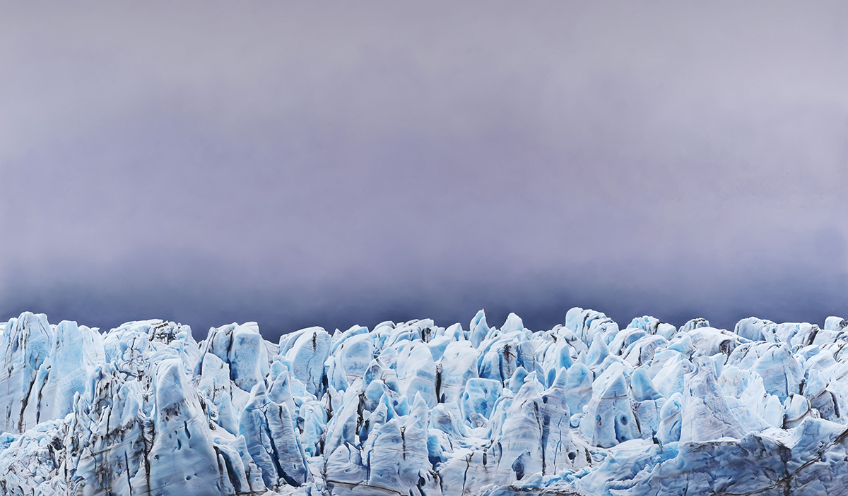 """Risting Glacier, South Georgia no. 1,"" Soft pastel on paper, 84"" x 144"", 2016"
