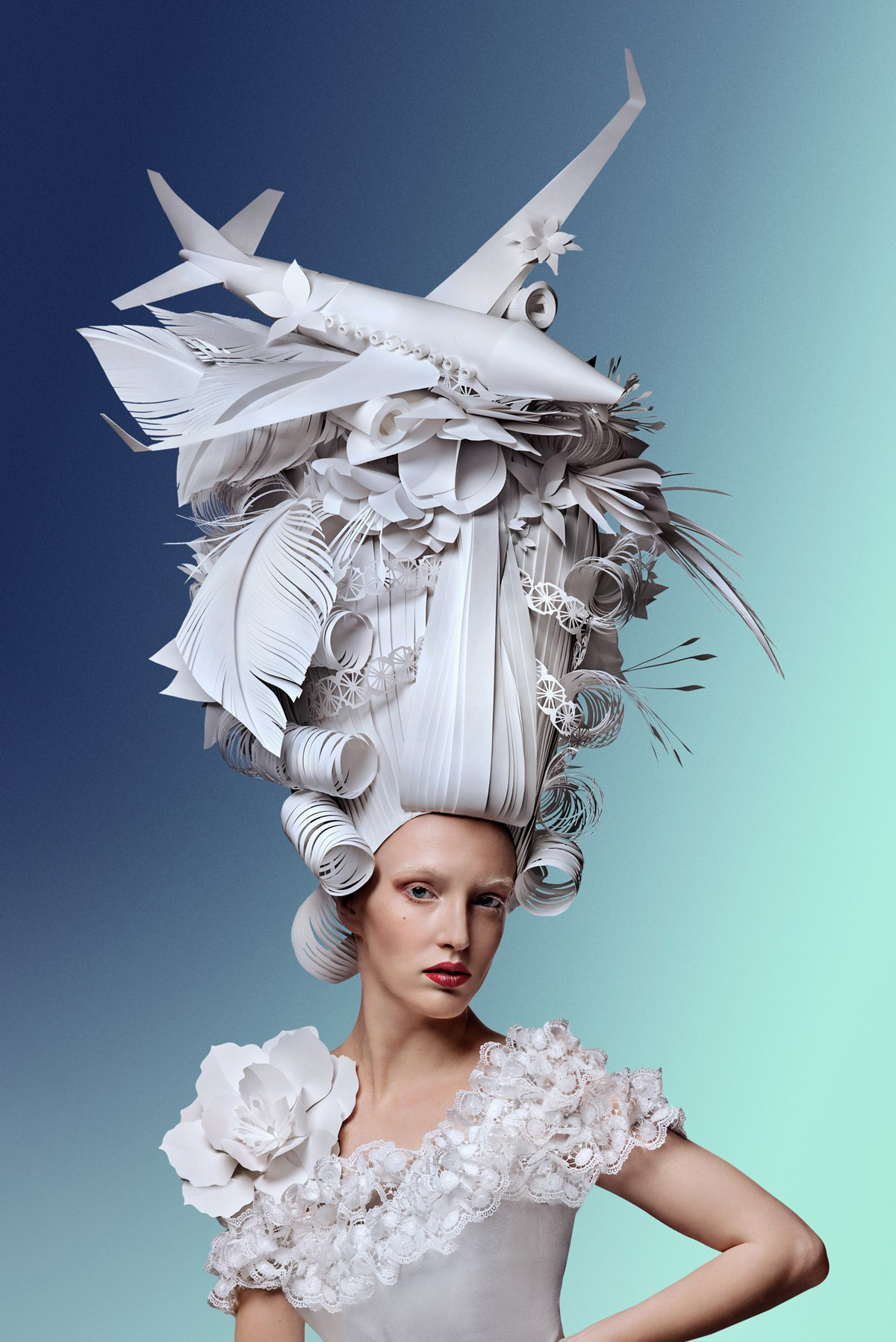 Sky High Paper Wigs Topped With Modern Luxuries By Asya Kozina Colossal