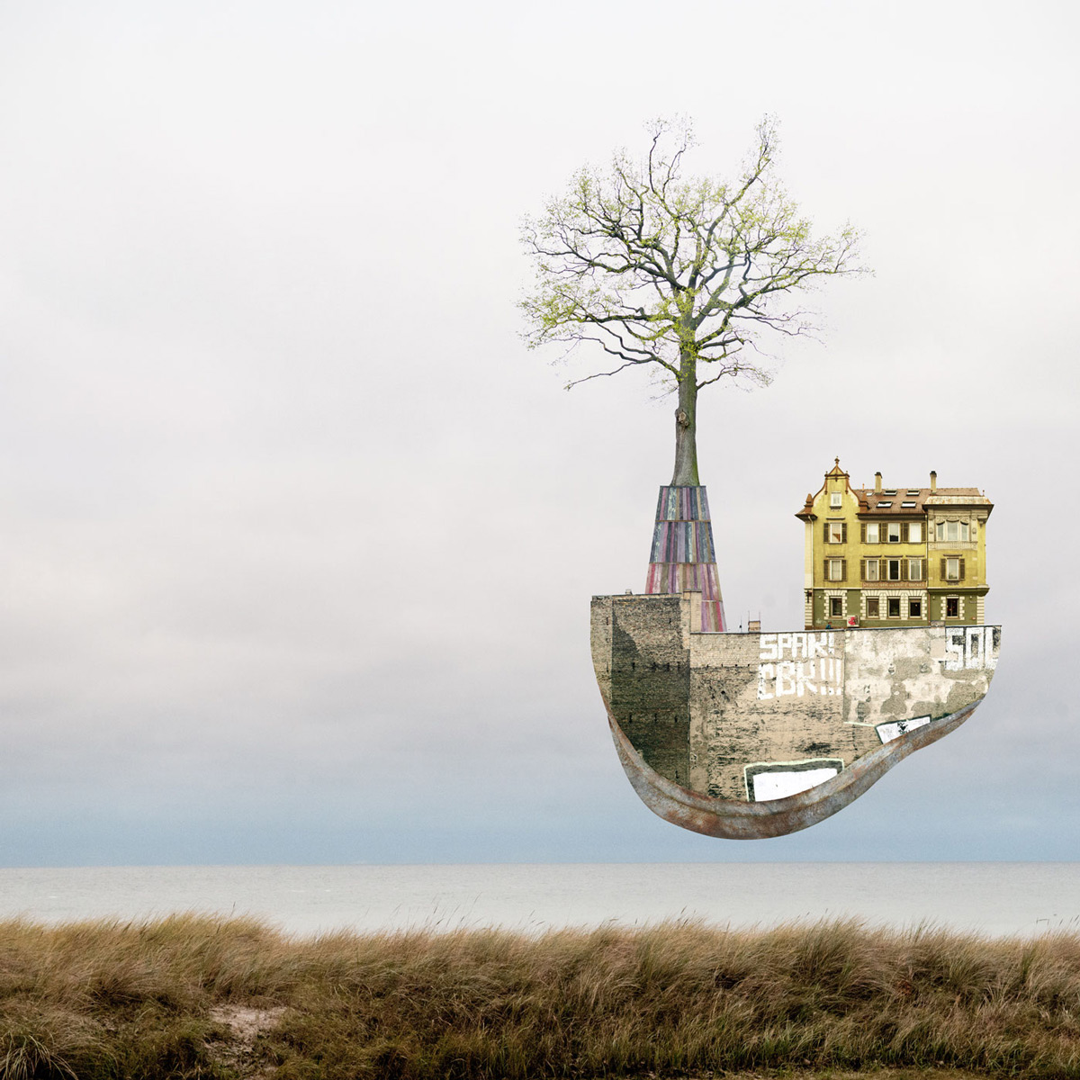 Surreal Architectural Collages That Float Above Serene