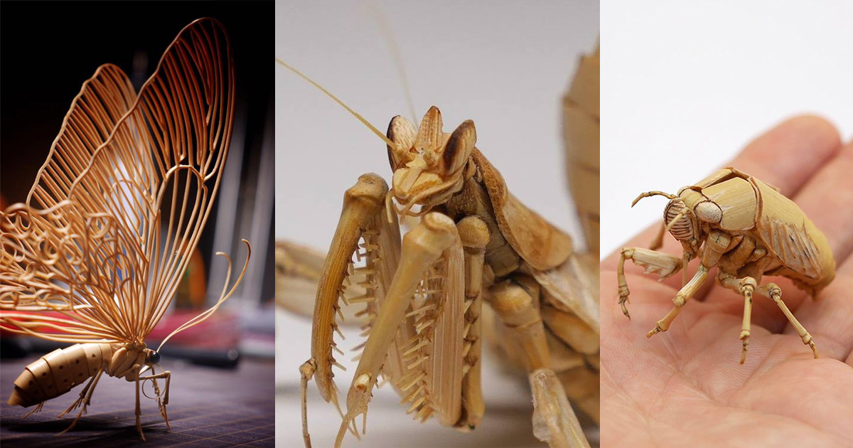 Incredibly Lifelike Insects Crafted Out Of Bamboo By