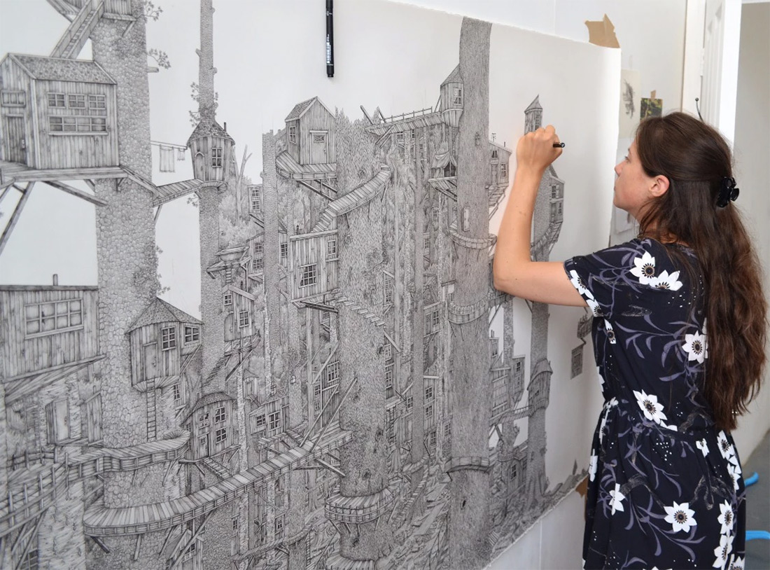 monumentally detailed pen drawings that combine real and imagined