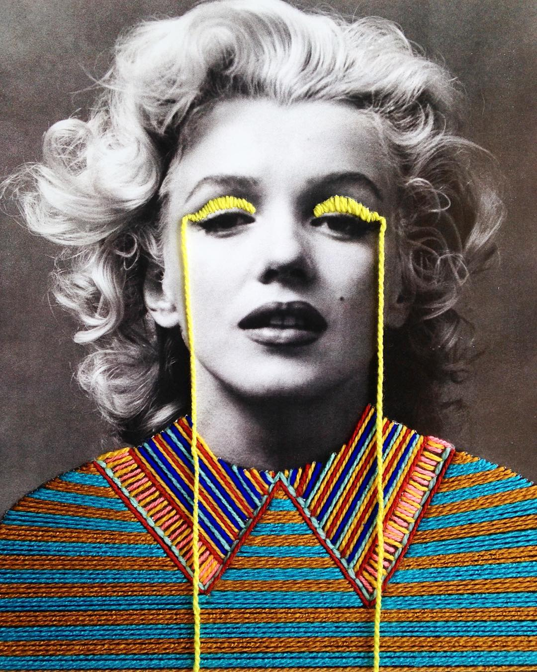 Artists: Colorfully Embroidered Vintage Photos Of Artists And