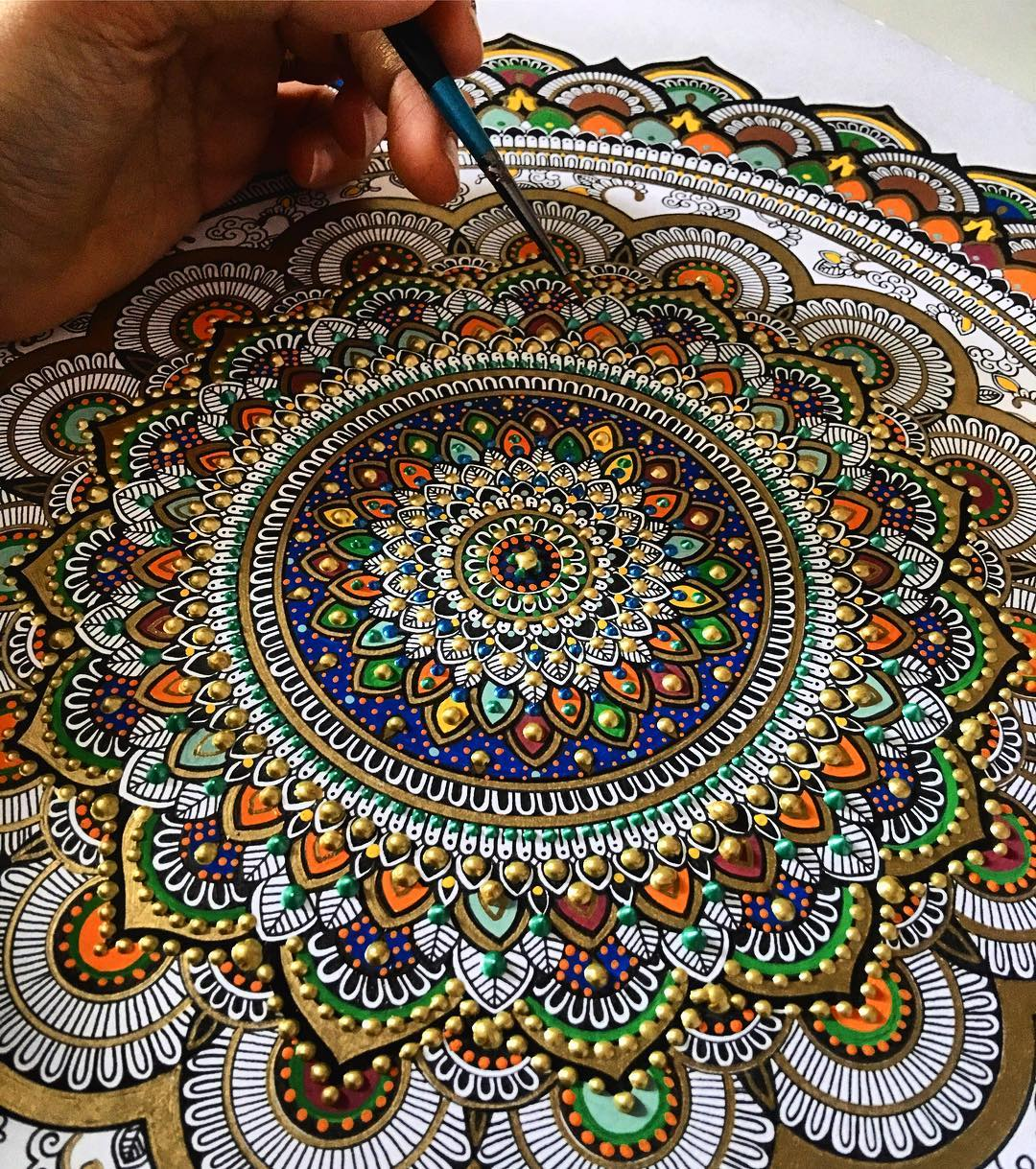 New Painted Mandalas Gilded With Gold Leaf By Artist