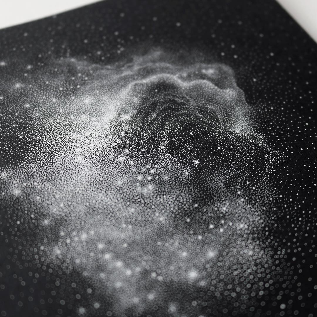 Stippled Black And White Illustrations Of Star-Packed