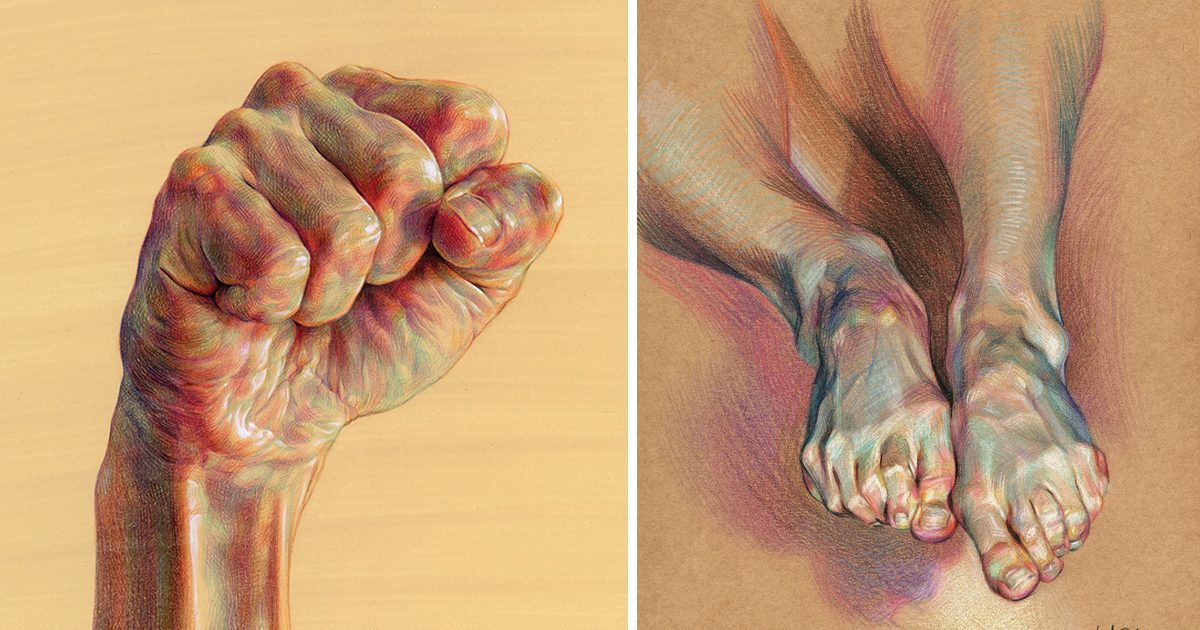 Dramatic Anatomical Drawings Comprised Of Complex Hatched