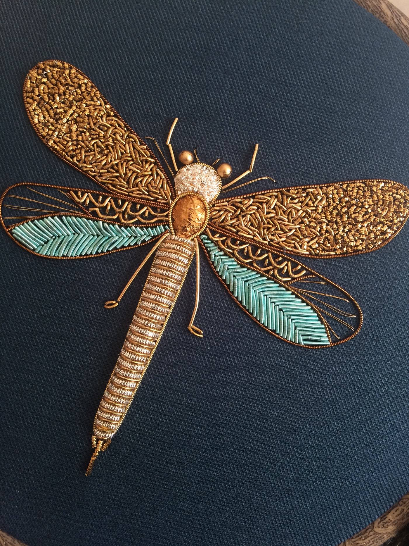 Shimmering Metallic Embroideries Of Dragonflies And Other