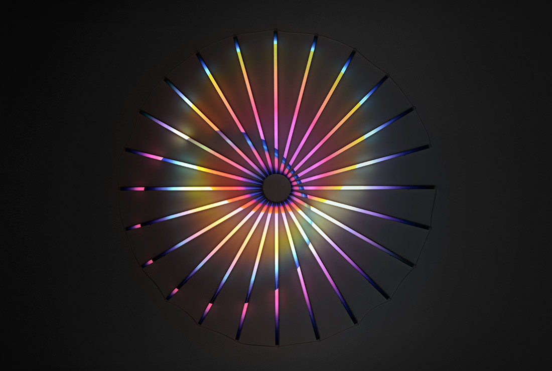 Binary Star, (2016), LEDs, filters, wire, 190 x 190 cm