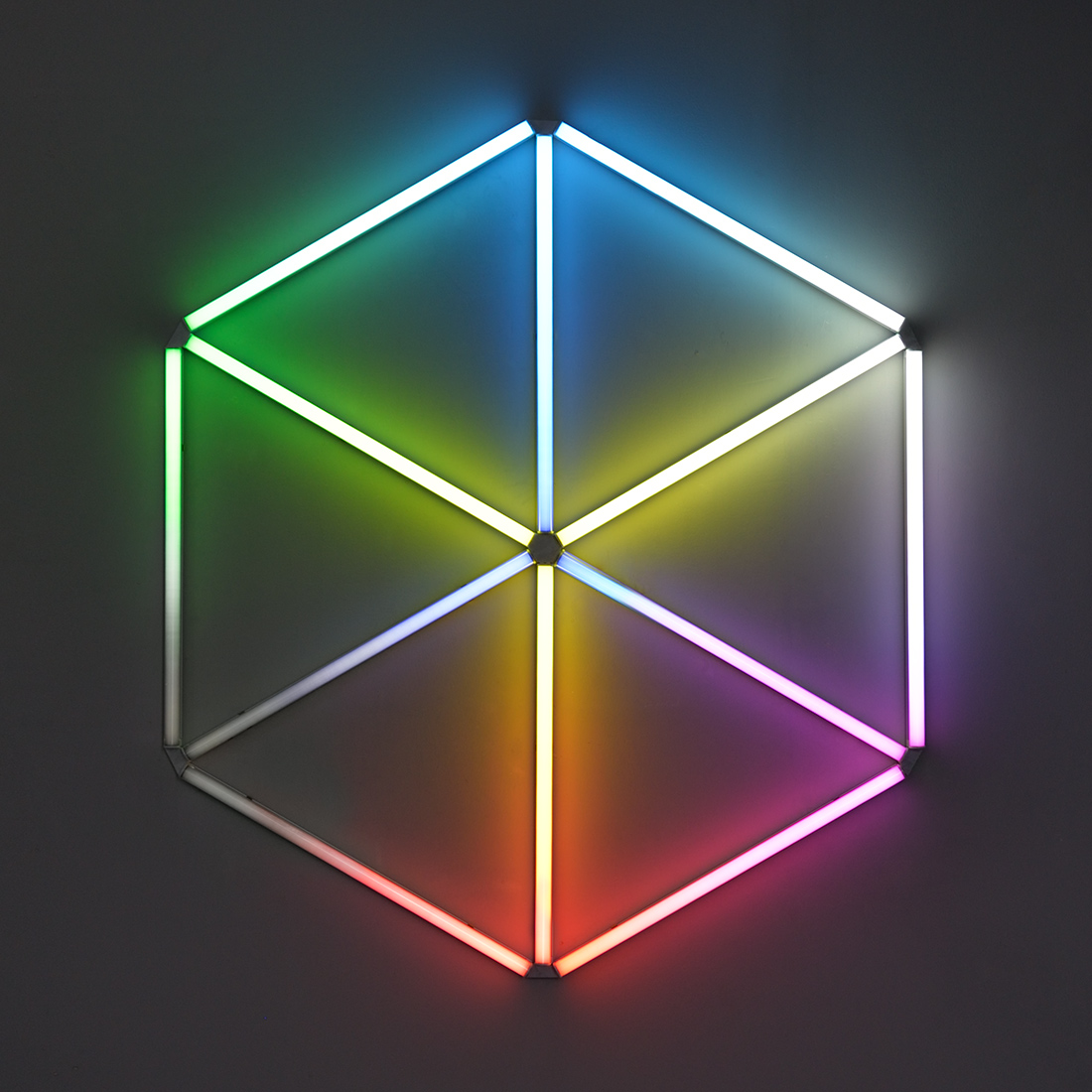 Space Is A Hologram (2014), LED lights, filters, wire, 105 x 120 cm