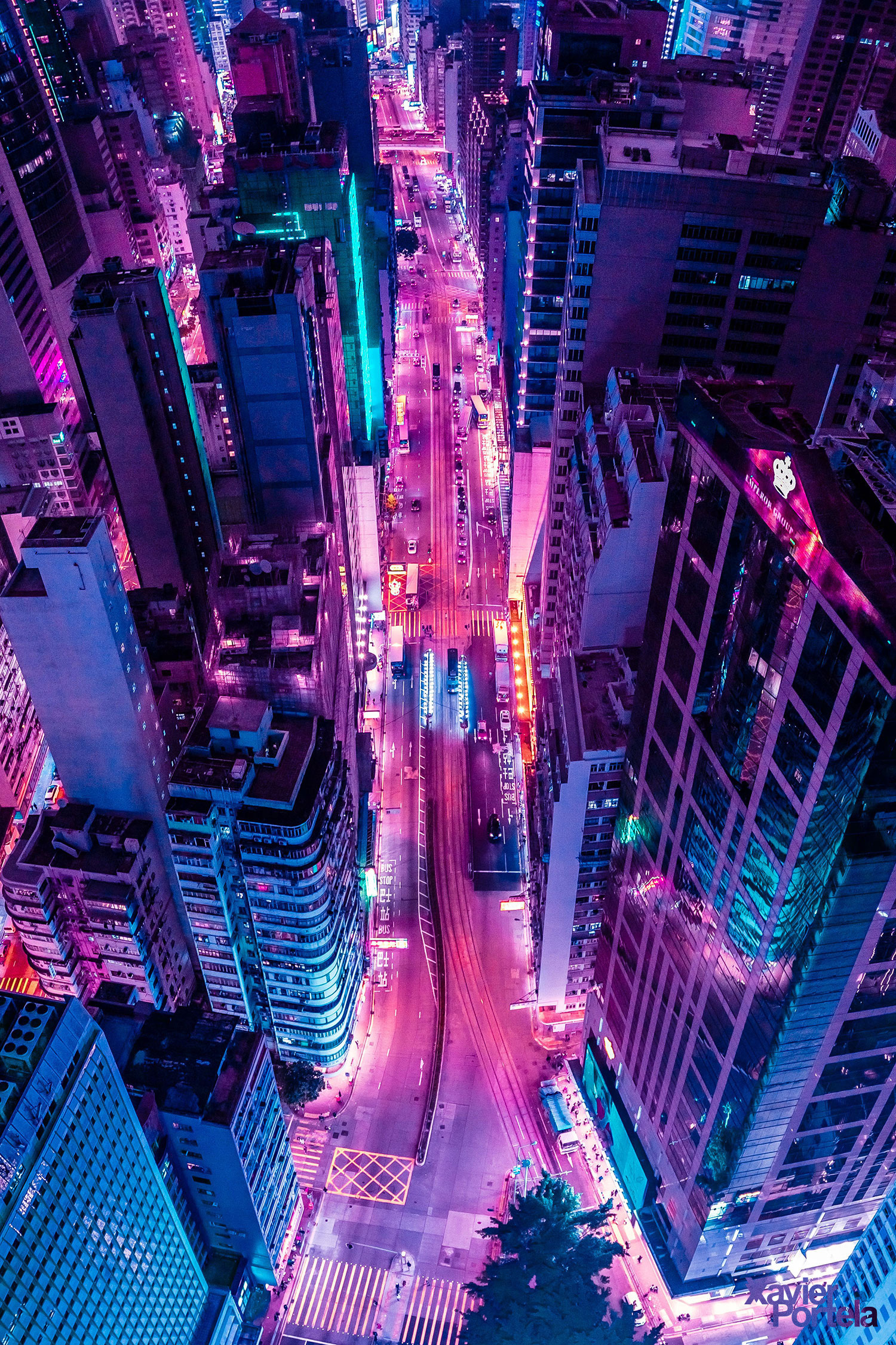Aerial Explorations of International Cityscapes Washed in a Neon Glow by Xavier Portela | Colossal