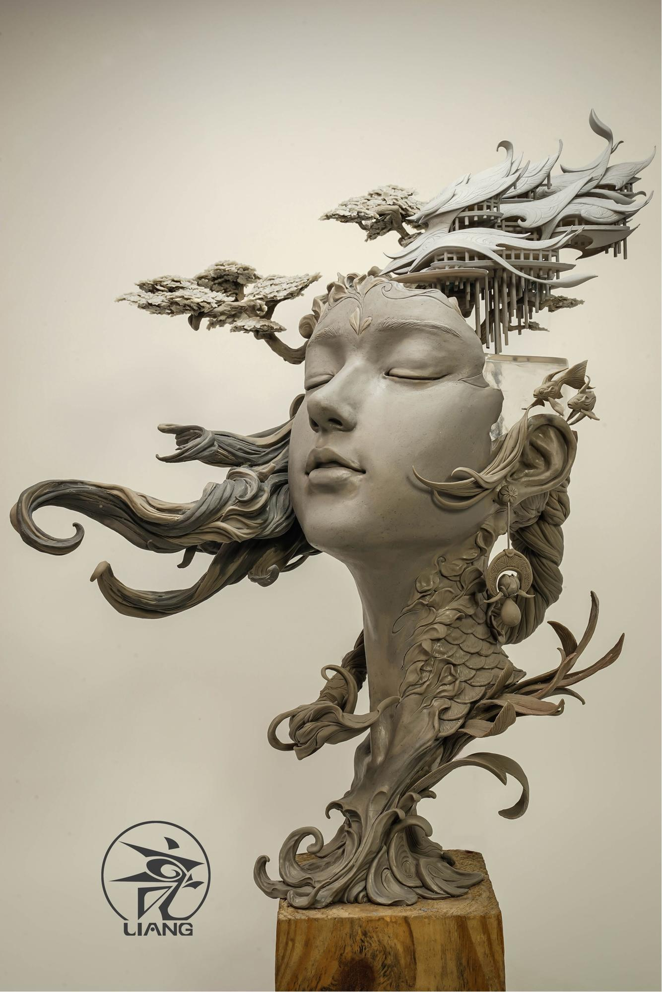 Wondrously detailed worlds emerge from busts of youthful women in clay  sculptures by Chinese artist Yuanxing Liang. Ambling trees, bridges, and  temples ...