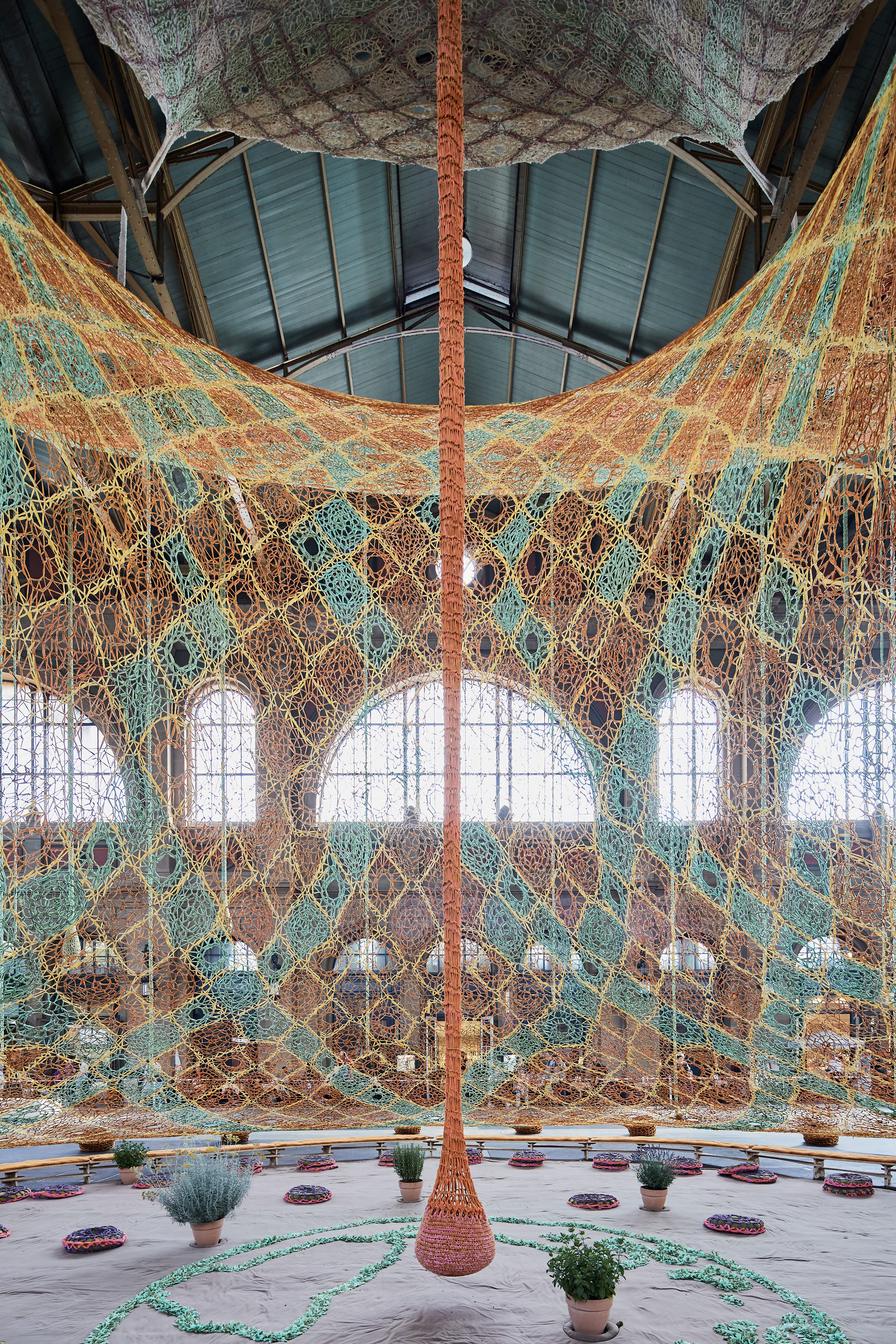 "Ernesto Neto, ""GaiaMotherTree"" (2018) at Zurich Main Station, Fondation Beyeler, photo by Mark Niedermann"