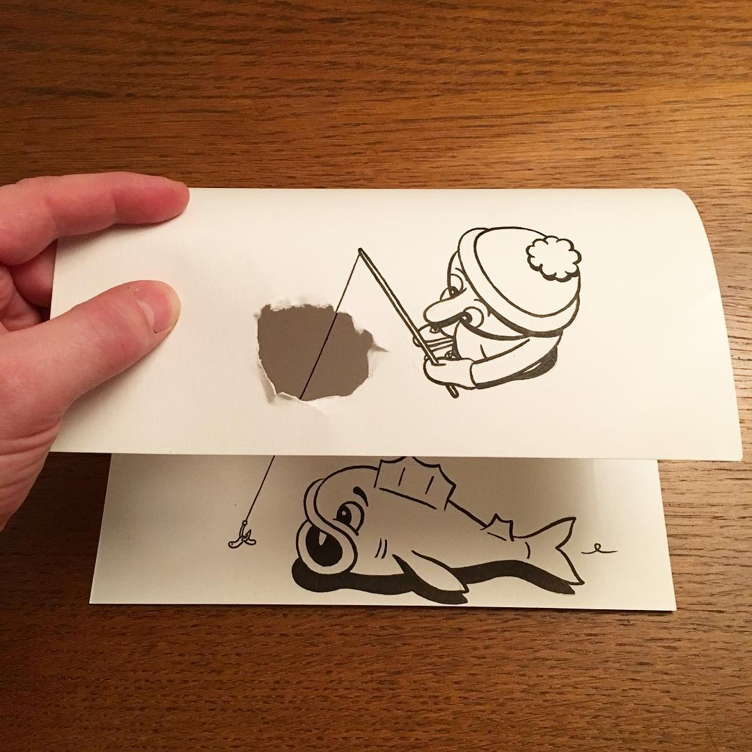 Huskmitnavn three-dimensional paper doodles created with playful folds and rips