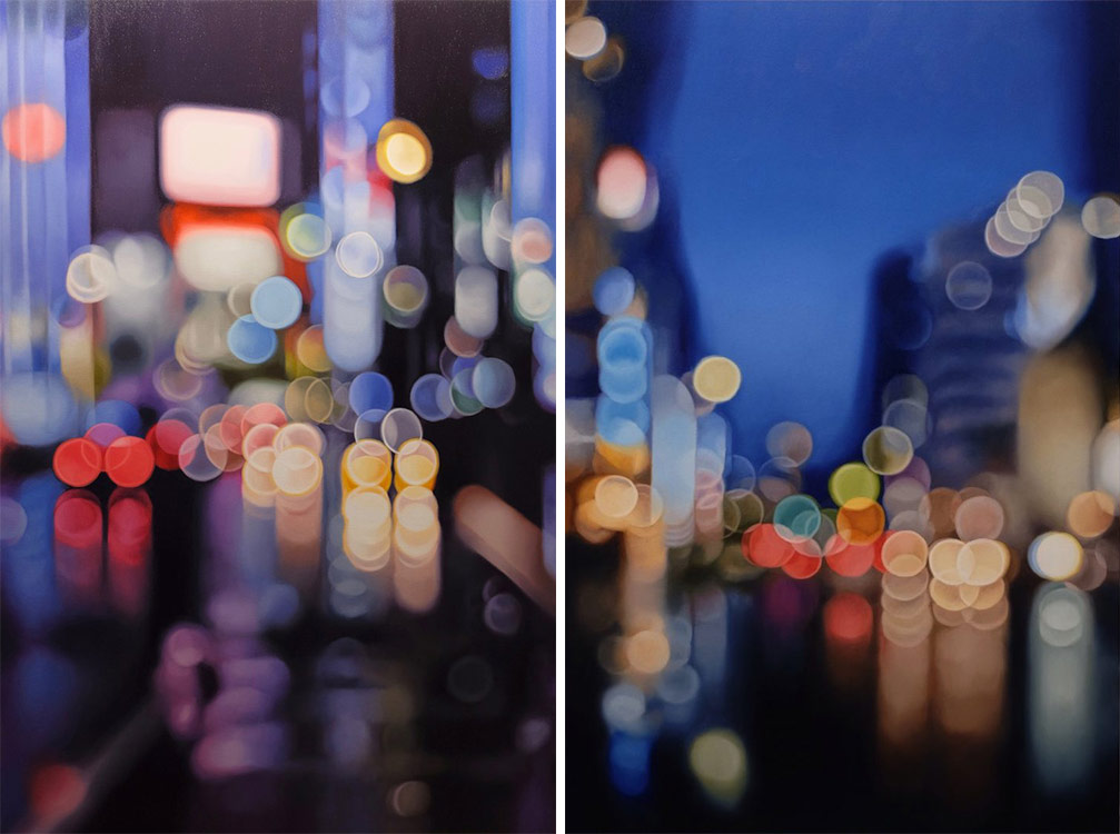 """Glass,"" oil on canvas, 70 x 47 inches, and ""Jingumae II,"" oil on canvas, 47 x 31 inches"