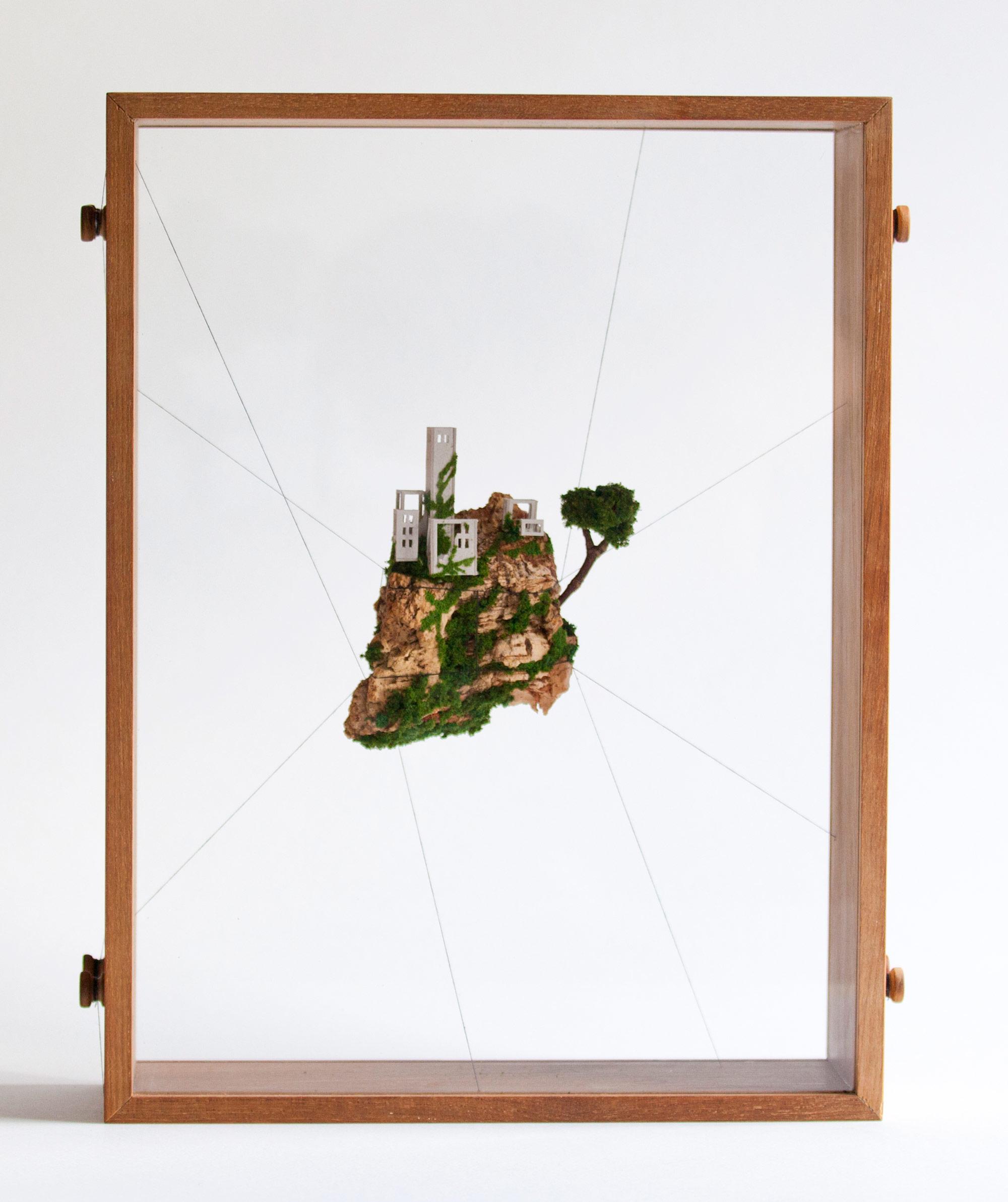 Miniature Houses on Cork Cliffs Float Inside Handmade Wooden Frames ...