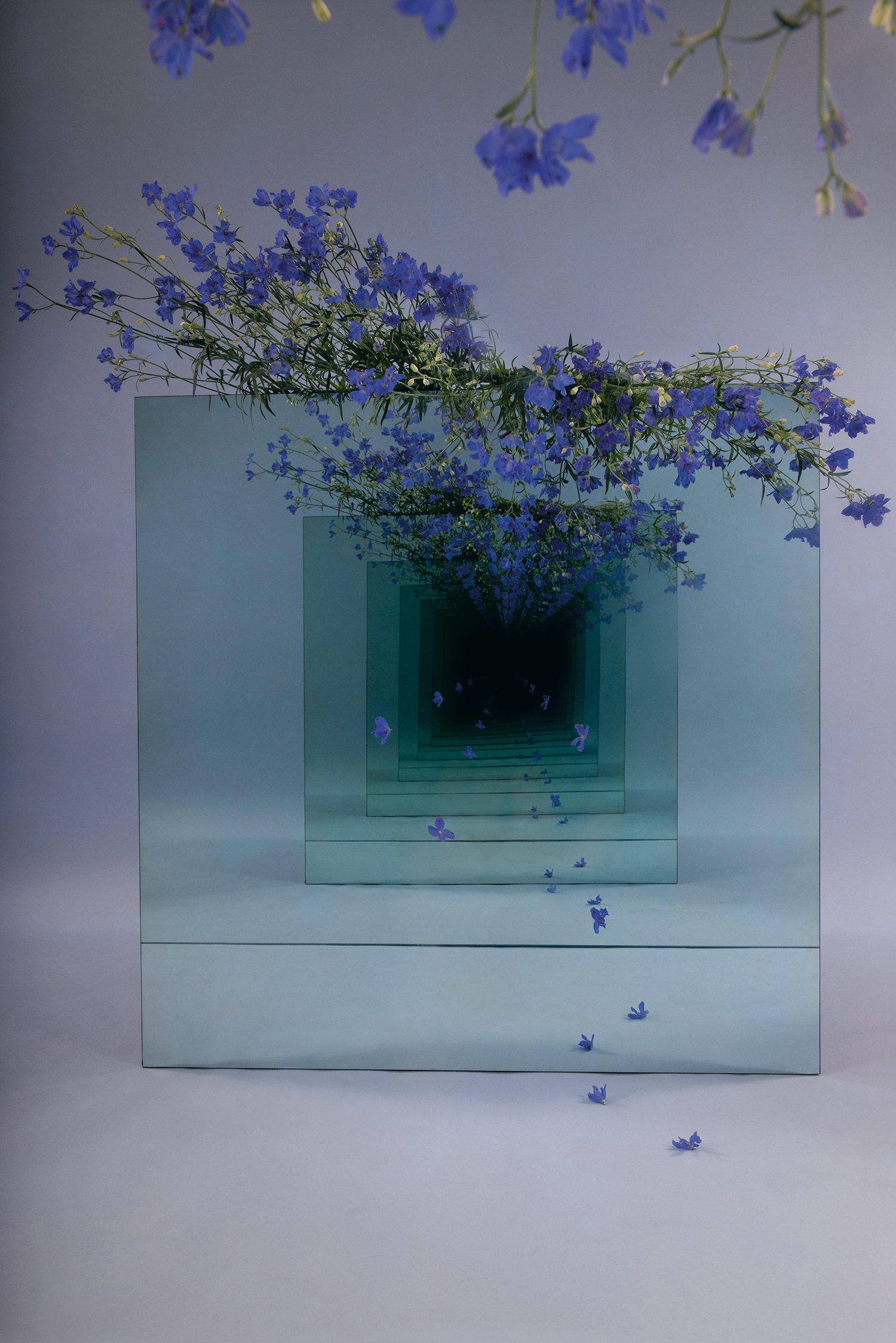 Mirrored Installations by Sarah Meyohas Create Infinite Tunnels Strewn With Dangling Flowers | Colossal