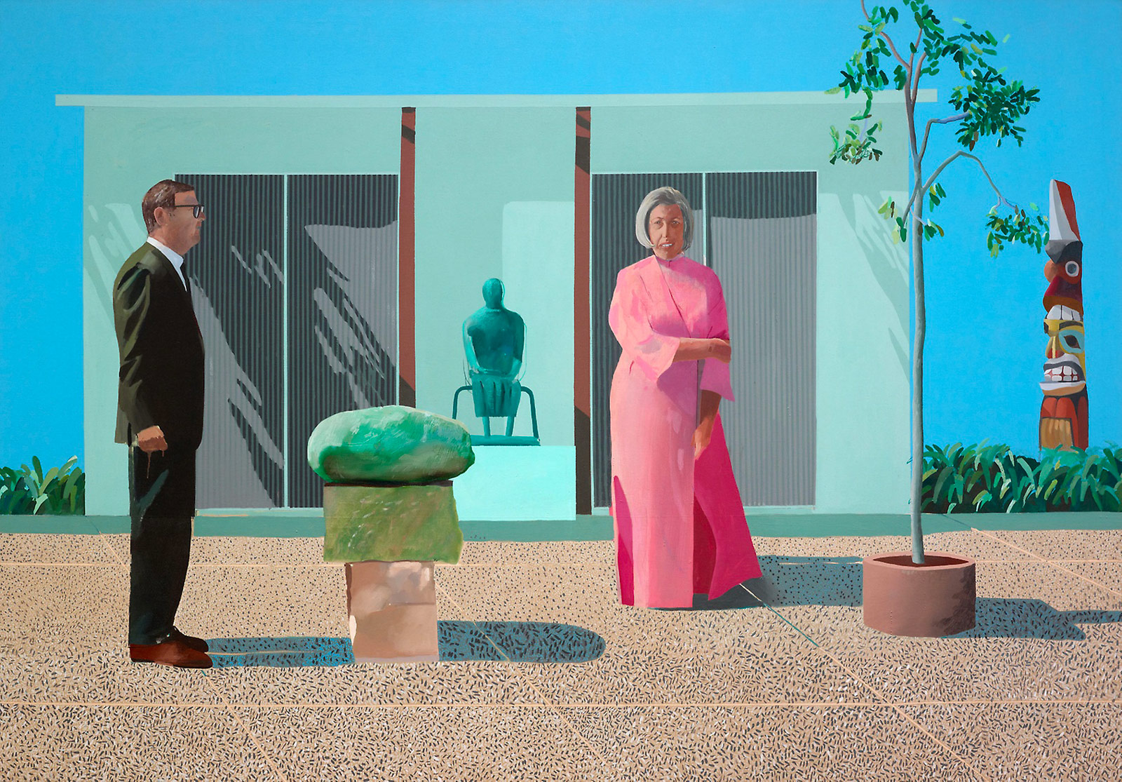 "David Hockney, ""American Collectors (Fred and Marcia Weisman)"" (1968), acrylic on canvas (courtesy of Mr. and Mrs. Frederic G. Pick)"