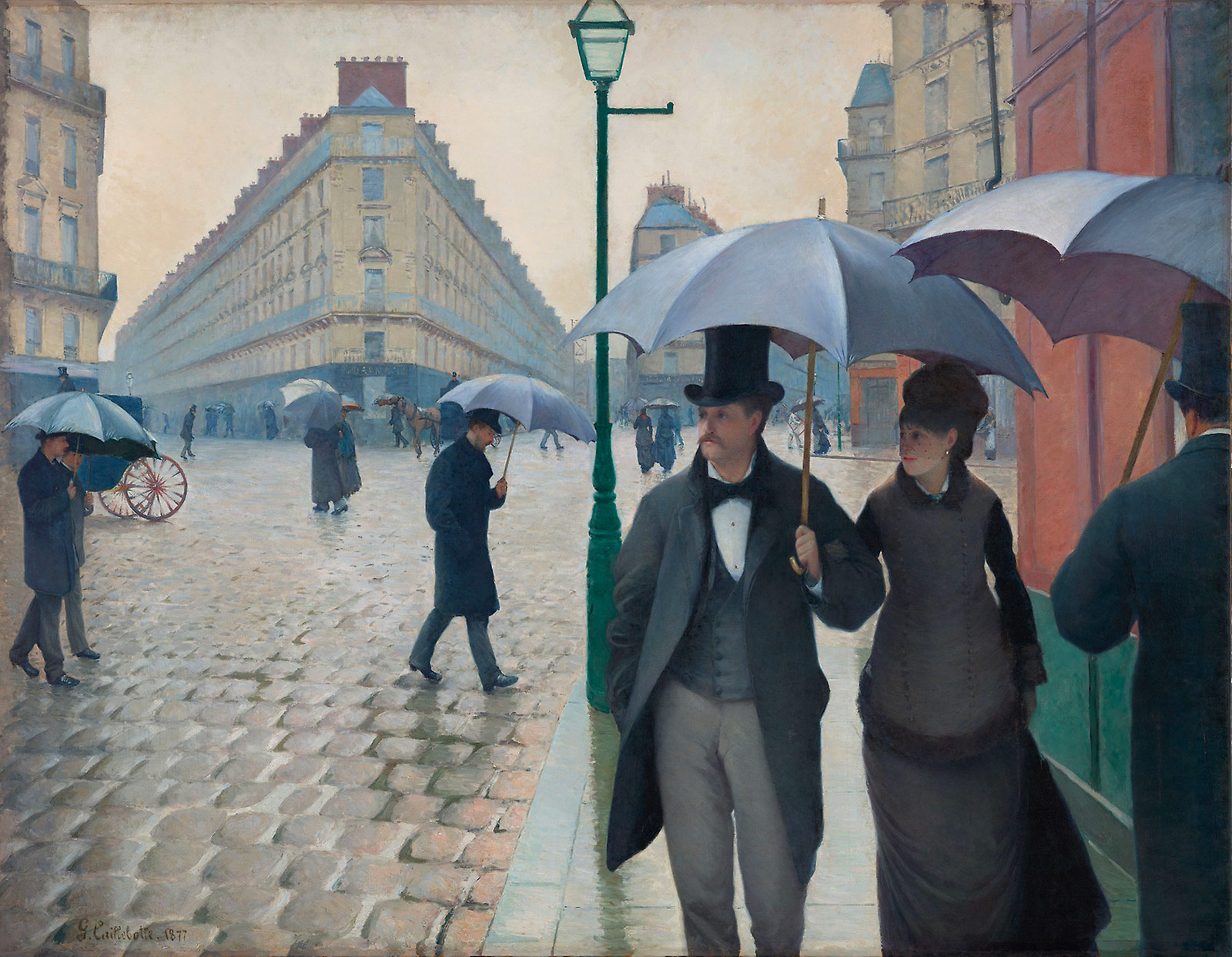"Gustave Caillebotte, ""Paris Street; Rainy Day"" (1877), oil on canvas, 83 1/2 x 108 3/4 in, (image courtesy Charles H. and Mary F. S. Worcester Collection)"
