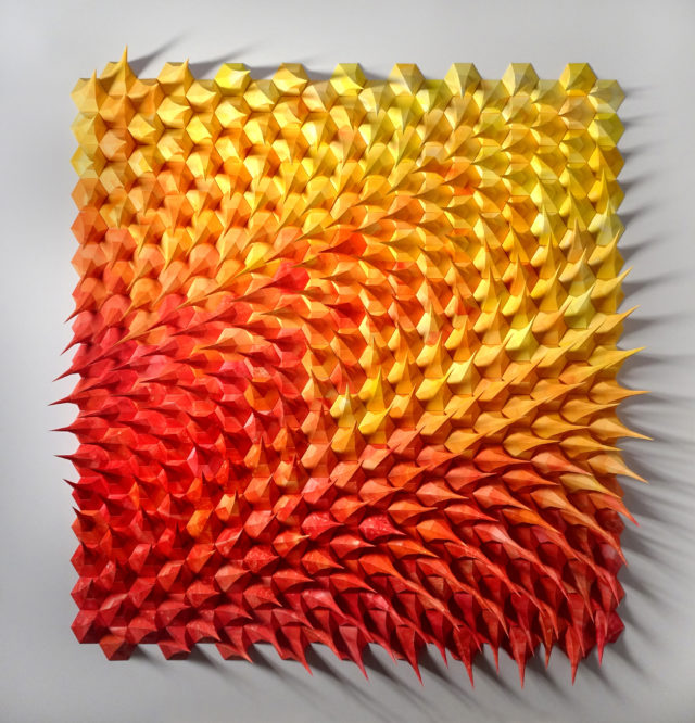 Spiked Sculptures by Matthew Shlian Create Angular Geometry from Folded Paper
