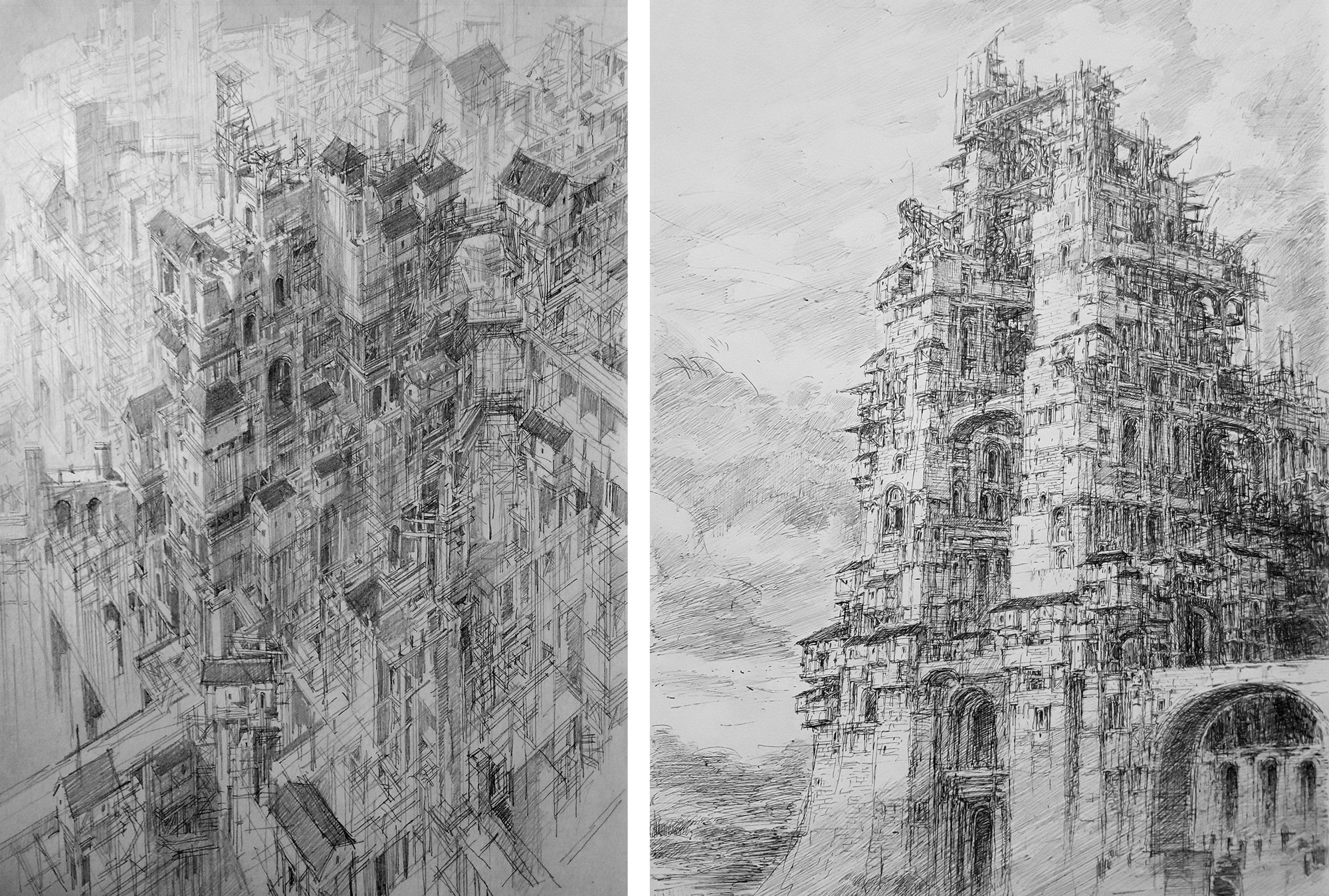 Infinite Cities Take Shape in Imagined Architectural Drawings by JaeCheol Park Artes & contextos jaecheol park 13
