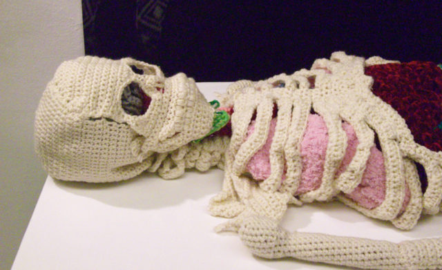 A Life-Size Skeleton and Organs Crocheted from Wool by Shanell Papp