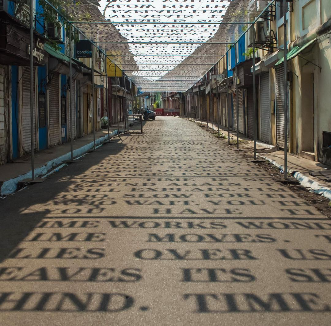 Sunlight Casts Shadows of Phrases Exploring Theories of Time in a Street Art Installation by DAKU | Colossal