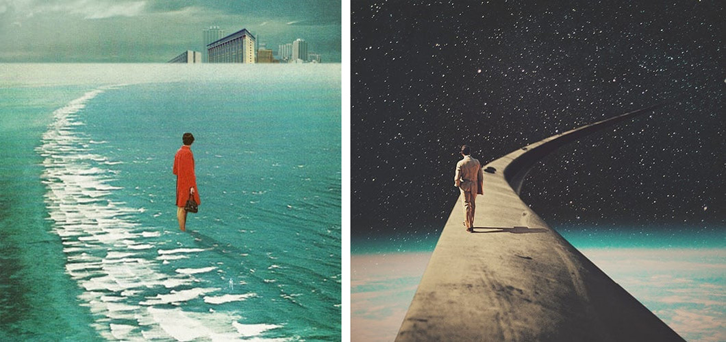 """Waiting for the Cities to Fade Out Waiting for You"" (2015) left, ""We Chose This Road My Dear"" (2015) right"