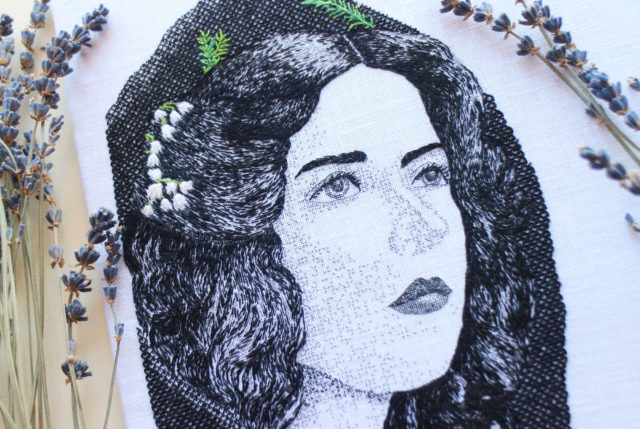 Antique Lace and Handkerchiefs Add Detail to Embroideries of Female Icons by Lily Bloomwood