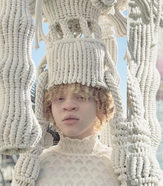Wearable Macramé Sculptures by Sandra de Groot Serve as Soft Headpieces and Armor