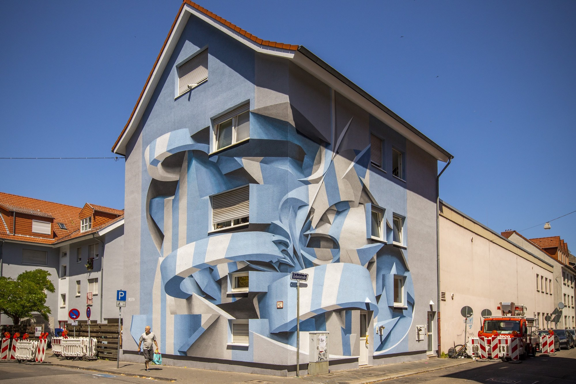 Italian Artist Peeta Blends Graffiti and Abstract Forms Into Optical Illusion Murals