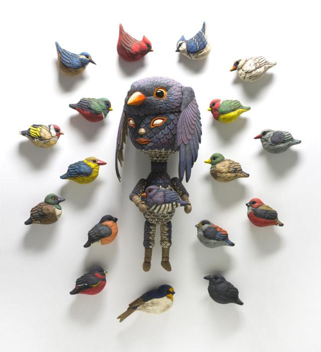 Human-Bird Hybrid Sculptures by Calvin Ma Interpret Social Experiences