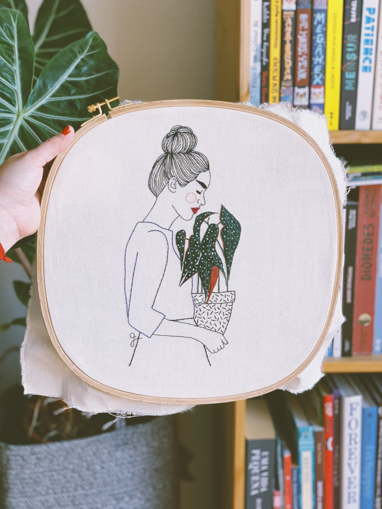 Embroidered Women Adorned With Flower-Shaped Tattoos and Leaf-Covered Clothing by Giselle Quinto | Colossal