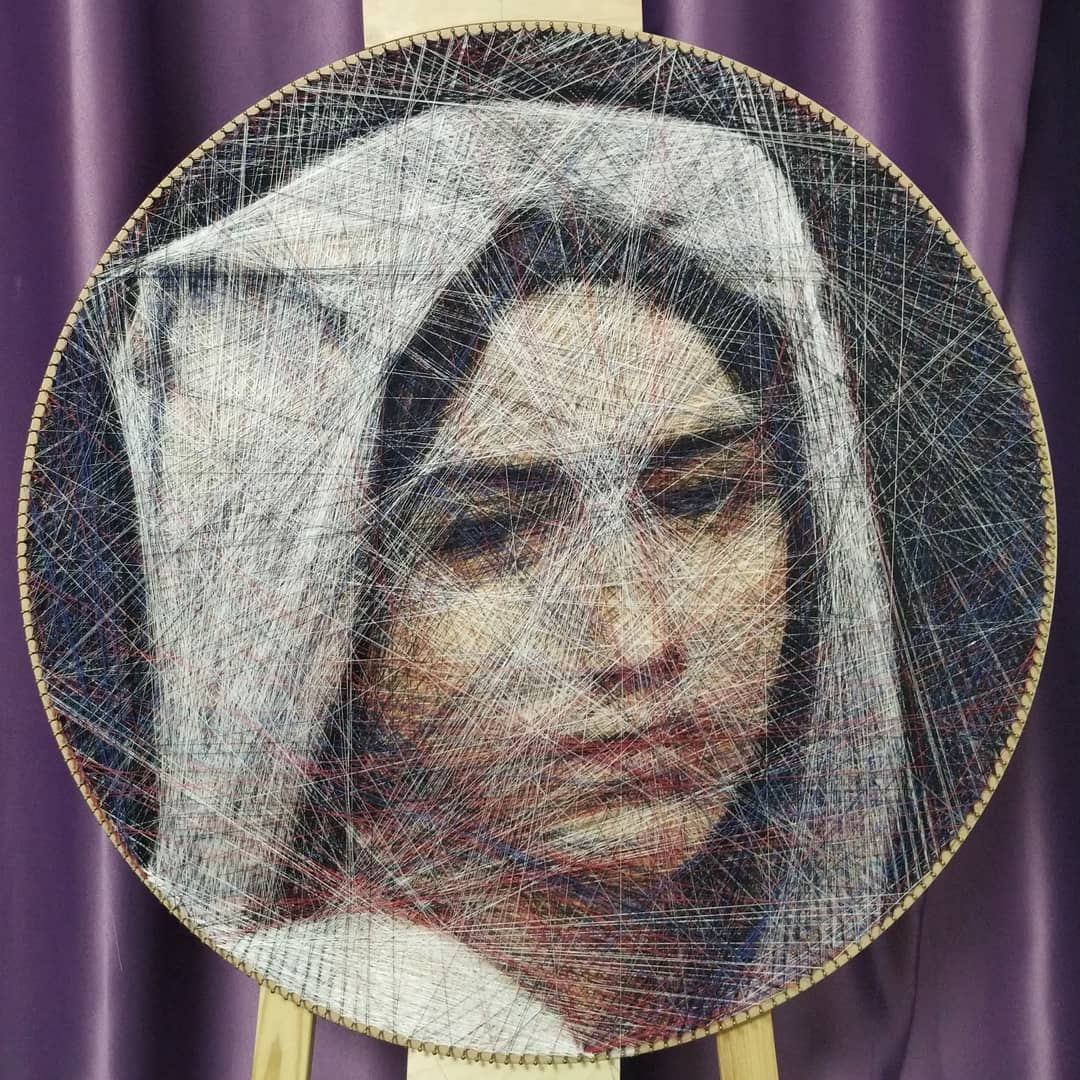 Thread Recreations of Famous Paintings Produced by Mathematical Algorithms