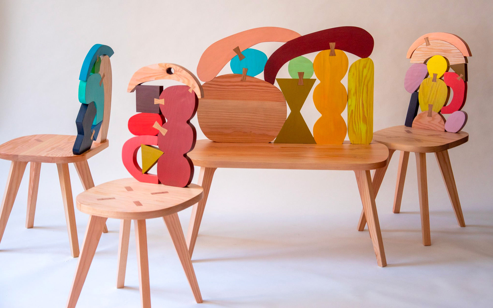 Hand-Painted Wood Offcuts Form Colorful Dovetailed Chairs and Benches by Donna Wilson | Colossal