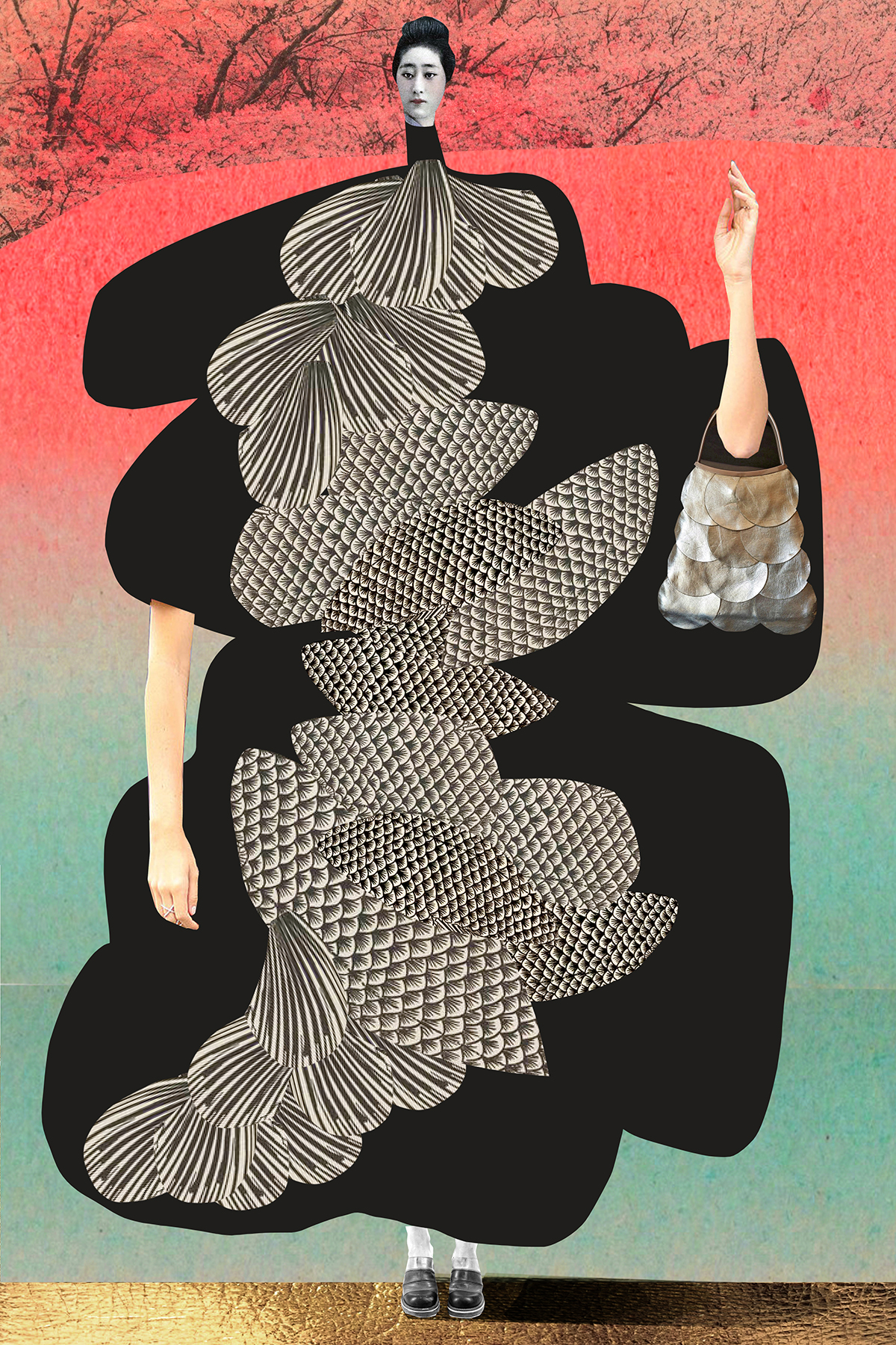 Stretched and Stacked Textures Become Elongated Female Figures in New Work by Johanna Goodman