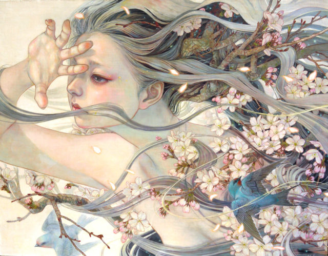 Meticulously Painted Portraits by Miho Hirano Fuse Introspective Women with Plants and Animals