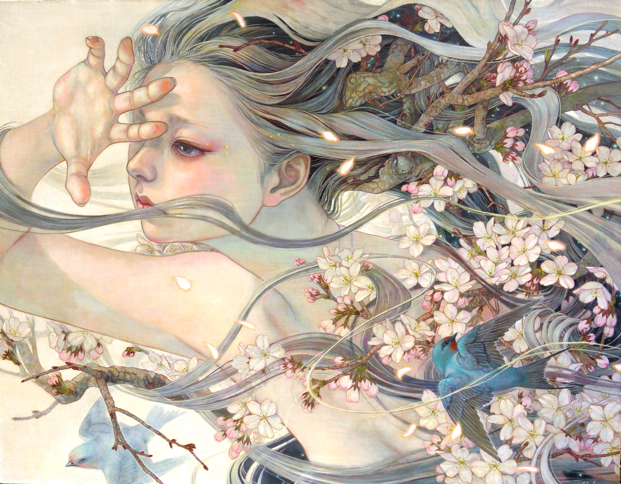 Meticulously Painted Portraits by Miho Hirano Fuse Introspective Women with Plants and Animals | Colossal