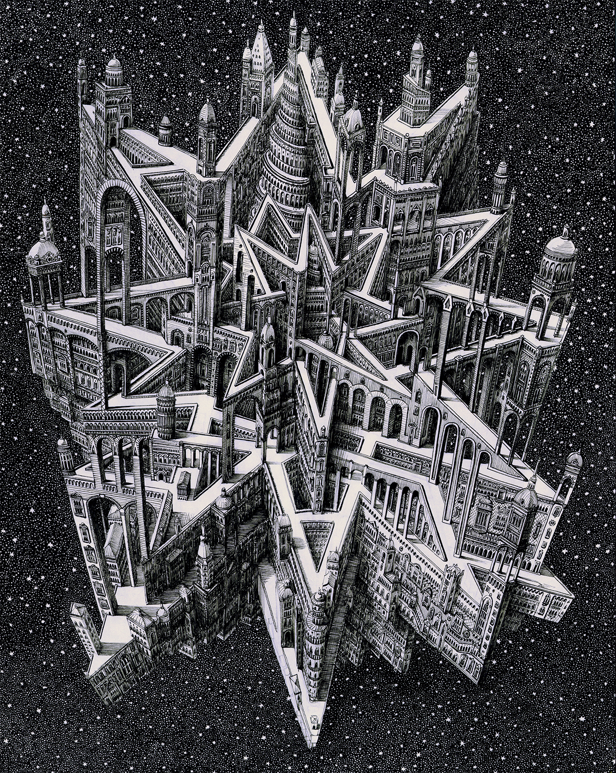 Impossible Cityscapes by Benjamin Sack Draw Inspiration From Cartography and Musical Compositions | Colossal